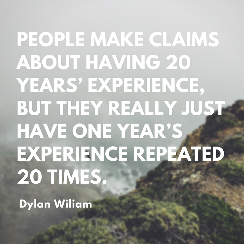 People make claims about having 20 years' experience, but they really just have one year's experience repeated 20 times.